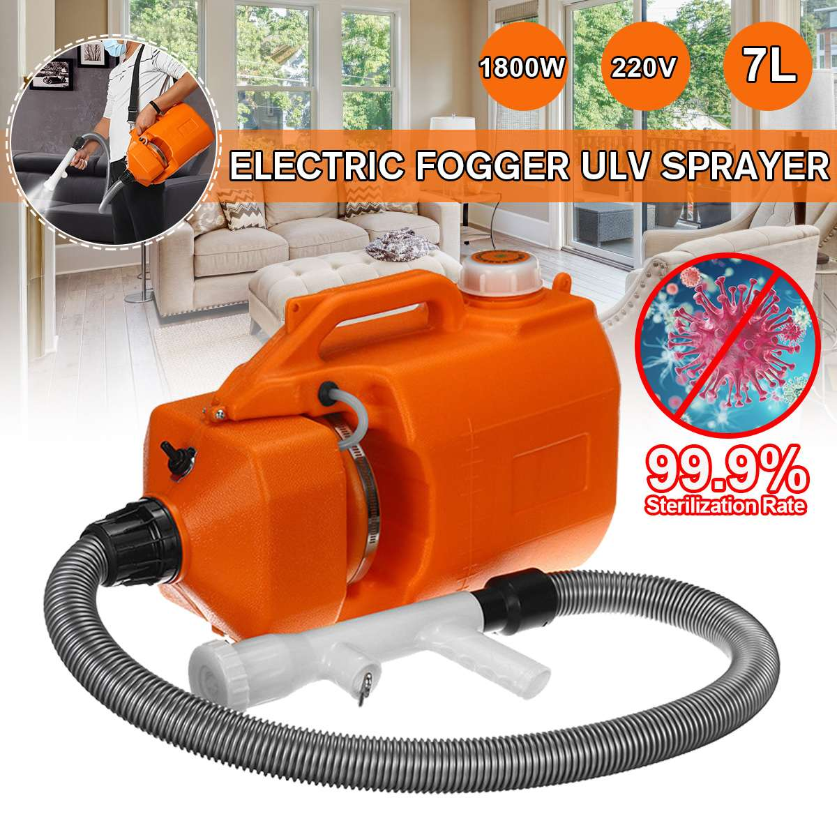 7L 220V 1800W Electric ULV Sprayer Fogger Machine Cold Mosquito Fogging Machine Ultra Low Capacity Fogger Disinfection Funnel