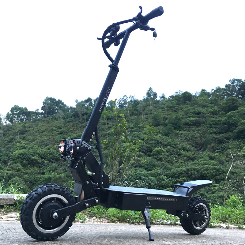 FLJ T112 5600W Dual <font><b>Motor</b></font> Powerful <font><b>Electric</b></font> <font><b>Scooter</b></font> with off road tire <font><b>wheel</b></font> 2 big LED <font><b>scooter</b></font> lights e bike new kick <font><b>scooter</b></font> image