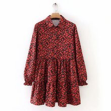 New women vintage pleats red flower print mini dress female long sleeve casual v