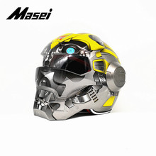Masei IRONMAN helmet motorcycle helmet half helmet open face helmet casque motocross car accessories sticker casco moto yellow free shipping top abs moto biker helmet masei vj u n spacy iron man personality fashion half open face motocross helmet