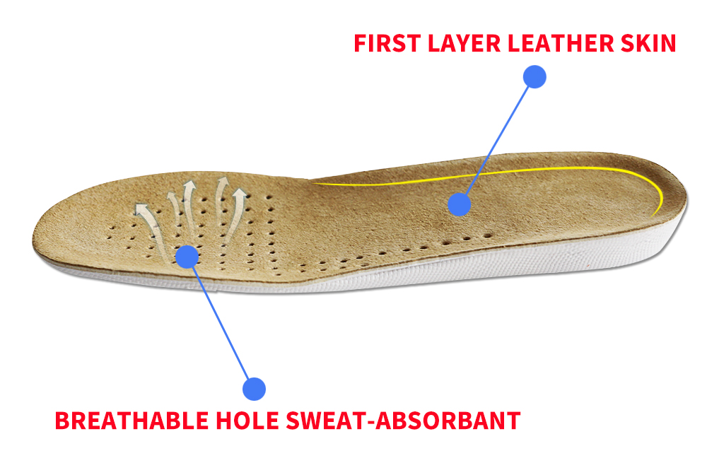 FootMaster Absorbent Ultra Thin Lambskin Leather Insoles with Breathable Activated Carbon Bottom shoe Insole Height 1-3cm Unisex