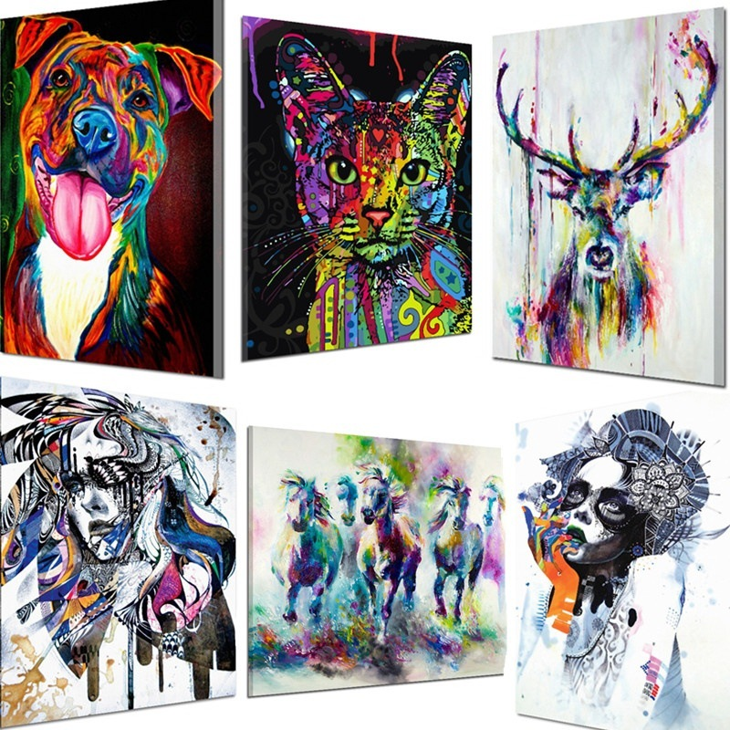 Colorful Animal Cat Cow Monkey Deer Dog Oil Painting Living Room Decorative Painting Pop Art Wall Art Canvas Posters and Prints