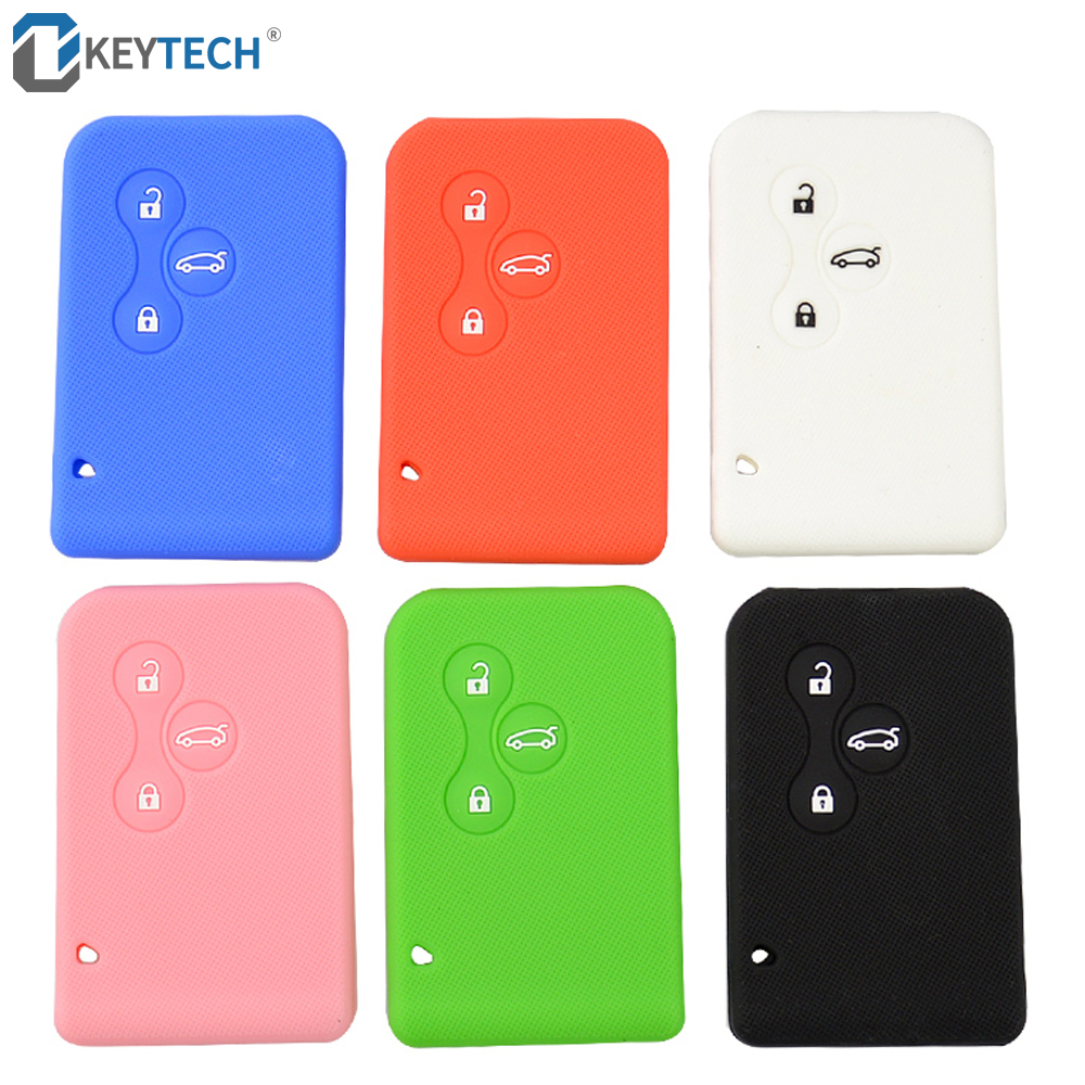 OkeyTech Silicone Rubber Car Key Card Case Cover For Renault Clio Megane Grand Scenic 3 Buttons Auto Key Cover Case Shell
