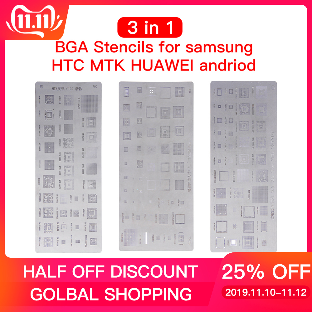 High quality 3pcs <font><b>universal</b></font> <font><b>BGA</b></font> <font><b>Stencils</b></font> for MTK Samsung HTC Huawei Android Directly Heated <font><b>BGA</b></font> Reballing <font><b>Stencils</b></font> Kit image