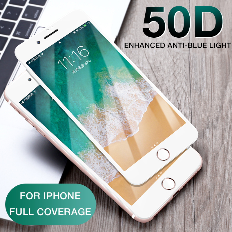 Image 2 - 50D Full Cover Tempered Glass For iphone 8 7 Plus 6 6s Glass screen protector On The iphone X XS MAX XR 5 5S SE Protective Glass-in Phone Screen Protectors from Cellphones & Telecommunications