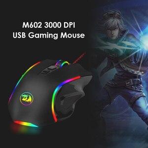 Игровая мышь Redragon M602A-RGB, маленькая USB Проводная оптическая мышь, бытовые Компьютерные аксессуары для настольного ноутбука
