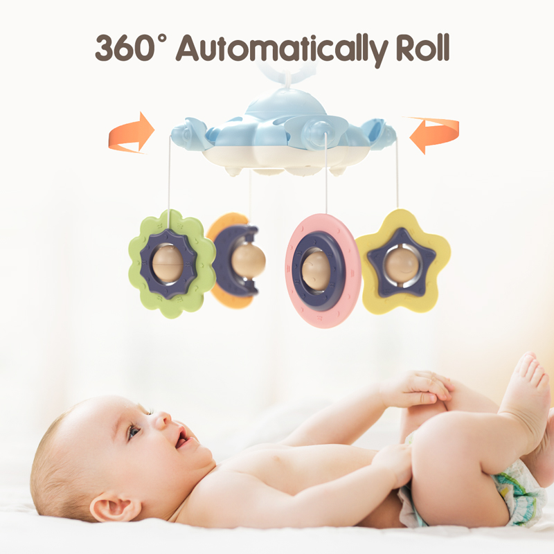 Baby Rattles Crib Mobiles Toy Holder Rotating 360�flexible Rotation Mobile Newborn's Crib Musical Box Projection Infant Baby Toy