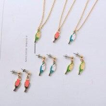 Новая мода милые животные серия птица на эмали девушка цвет геометрический Элемент Шарм птицы Ожерелье Серьги для женщин ювелирные изделия