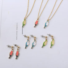 2019 New Fashion Cute Animal Series Bird Enamel Girl Color Geometric Element Charm Birds Necklace Earrings For Women Jewelry(China)