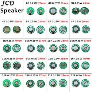 Jcd 1 pçs ultra-fino alto-falante campainha chifre brinquedo-chifre de carro 8/16/32 ohms 0.5w 0.25w 8r 16r 32r alto-falante 20 21 23 27 29 mm de diâmetro
