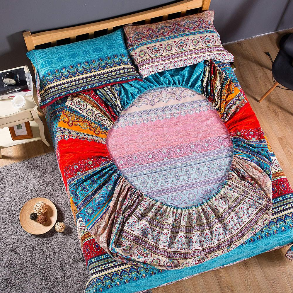Bohemian cotton Fitted Sheet Mattress Cover wish pillowcase Home Textile queen size bed linen bed Cover
