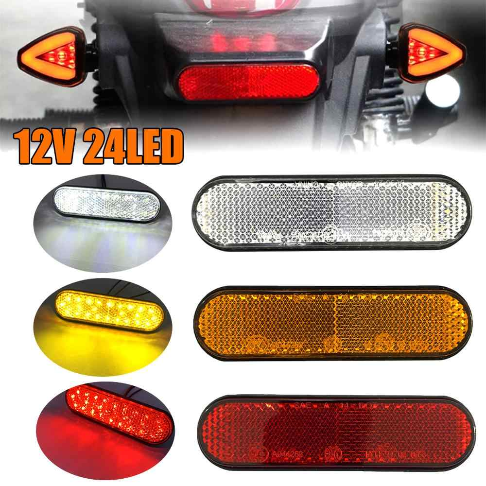 2Pcs Red LED Rectangle Bolt-on Motorcycle Reflector Tail Brake Turn Signal Light