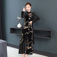 Autumn and winter clothing female 2019 wild suit loose wide leg pants large size fat female mm ladies gold velvet two-piece autumn new middle east popular solid color loose casual hanging neck loose wide leg large size fat mm sexy ladies dress