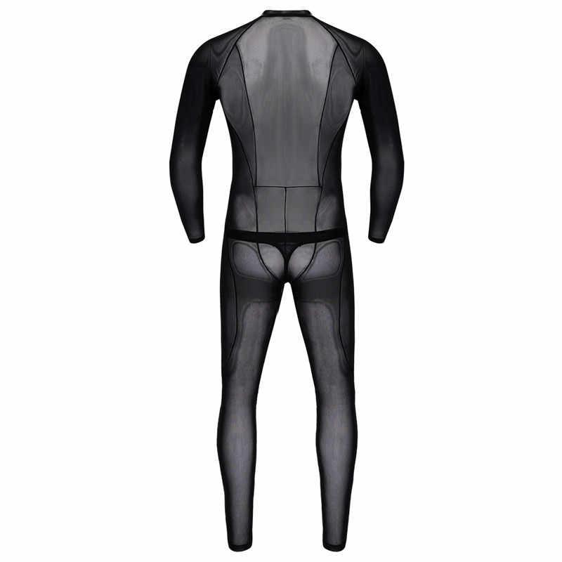 Men Bodysuit Stockings See Through Romper Bodysuit Pantyhose Mesh Lingerie