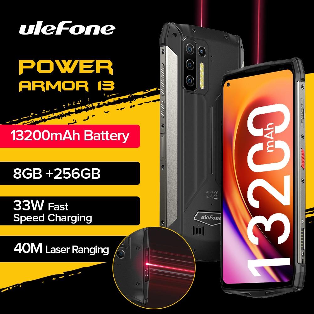 "Ulefone Power Armor 13 13200mAh Rugged Phone 256GB Android 11 Waterproof Smartphone 6.81"" 2.4G/5G WLAN Mobile Phones NFC Global"