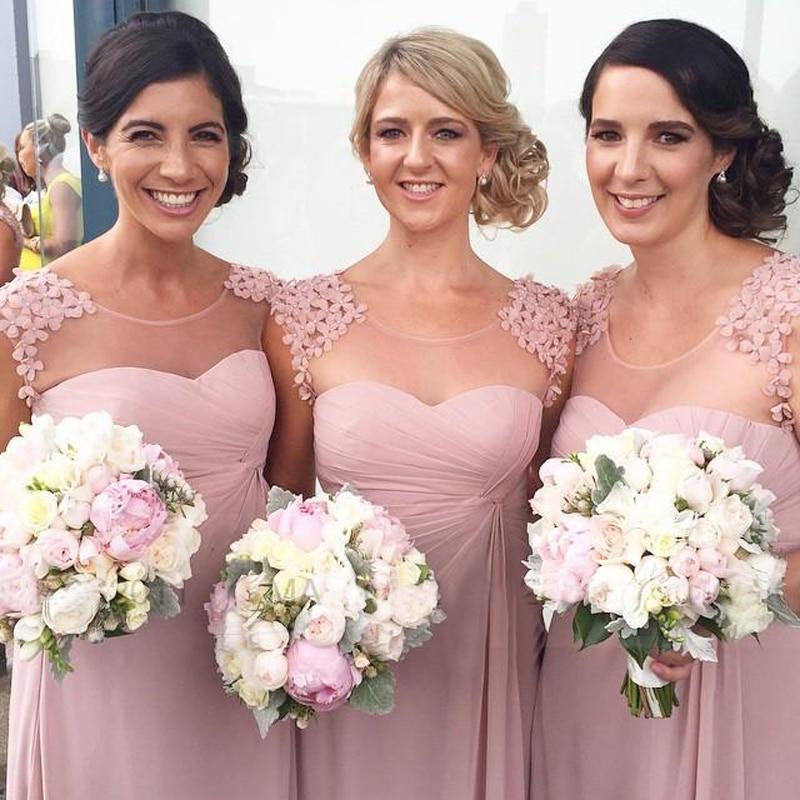 Charming Blush Pink Cap Sleeve Pleated Chiffon Bridesmaid Dresses Flowers Wedding Guest Maid Of Honor Dress
