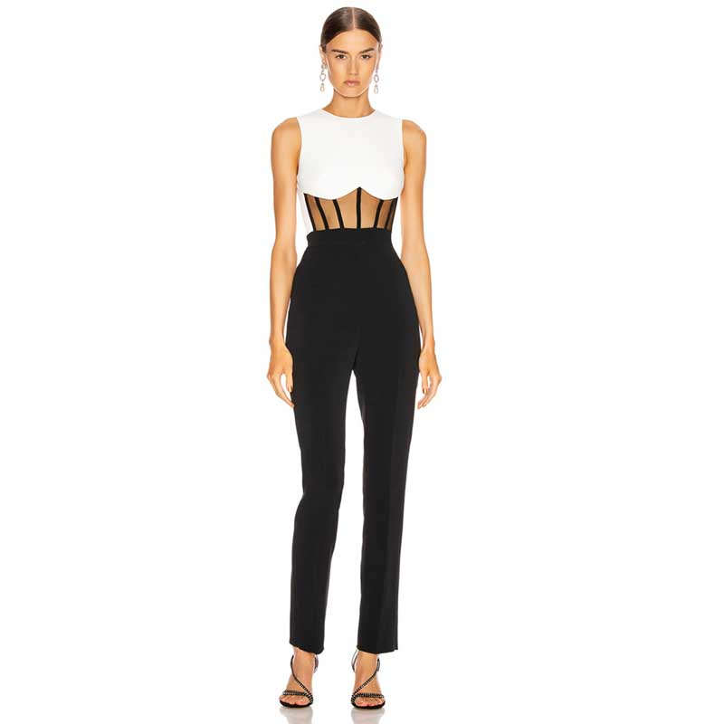 Wholesale 2020 New Rompers Black And White Cutout Fashion Celebrity Boutique Celebrity Party Bandage Jumpsuits