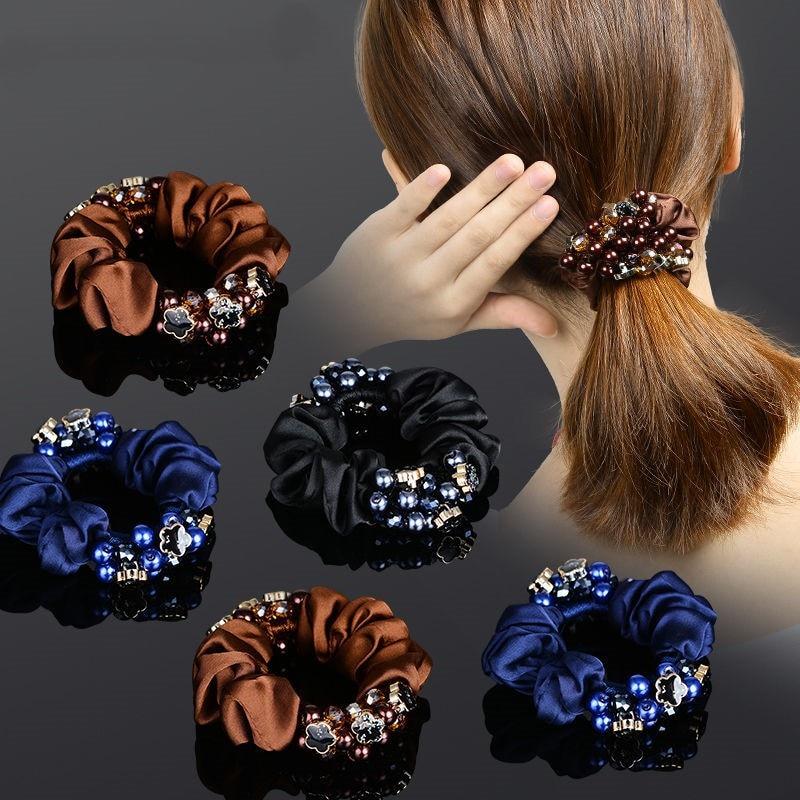 Elegant temperament flower hair rope crystal ponytail rubber band hair tie women's fashion boutique hair accessories