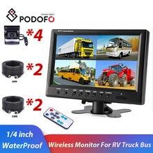 "Podofo 9 ""اللاسلكية رصد سيارة احتياطية الرؤية الخلفية شاشة كاميرا للرؤية الليلية الرؤية الخلفية النسخ الاحتياطي نظام الكاميرا ل RV شاحنة حافلة"