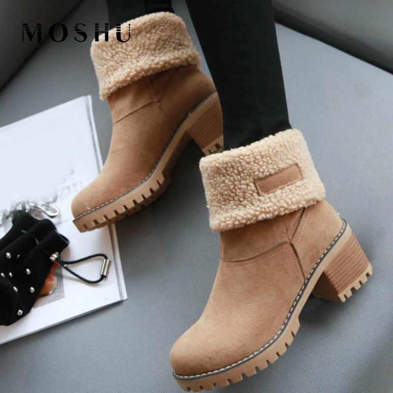 Yarım çizmeler Kadın Kış Ayakkabı Kadın Kar Botları Kürk Peluş Bayanlar Bottine Femme Yüksek Topuk Ayakkabı Dönüş Botas Mujer