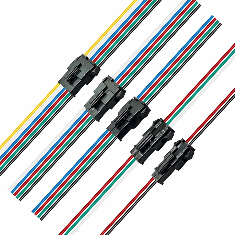 Faixa de led jst conector 2/3/4/5/6pin macho e fêmea para ws2812b sk6812 5050 10/50/100 par 15cm fio