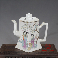 Mínguo Hand Painted Beauty Square Flat Pot Teapot Antique Vase Decoration Traditional Chinese Porcelain Collection Home Decor