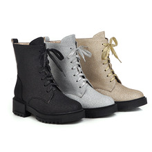 New products in autumn and winter 2019 foreign trade comfortable low heel cross tie womens low-heeled Martin boots