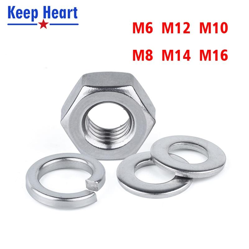 M6 M8 M10 M12 M14 304 Stainless Steel Screw Nut Hex Nut Flat Washer Gasket Spring Washer Gasket