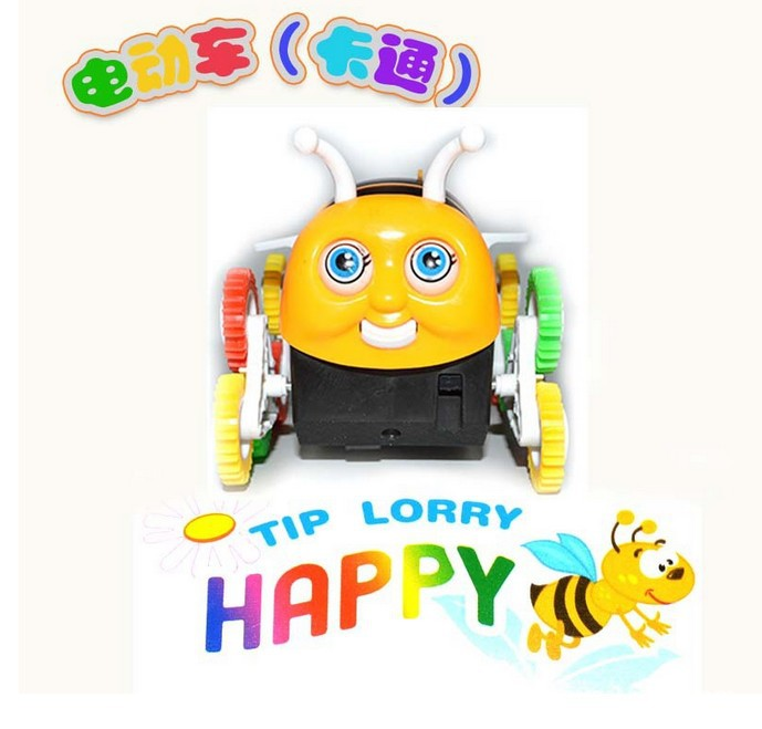 Stall Hot Selling Toy Small Bee Dump Truck Automatic Roll Flipping CHILDREN'S Electric Car Wechat Business Hot Selling