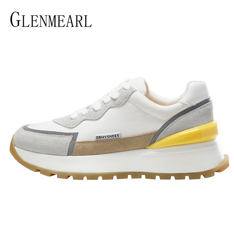 Women's Sneakers Genuine Leather Sport Shoes Female Students Platform Flats White Black Shoes 2021 Spring New Arrival