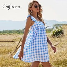 Chifirena 2021 Summer Plaid Women Dress Backless High Waist Sexy Dresses Square Collar Casual Vestidos Boho Beach Blue Sundress