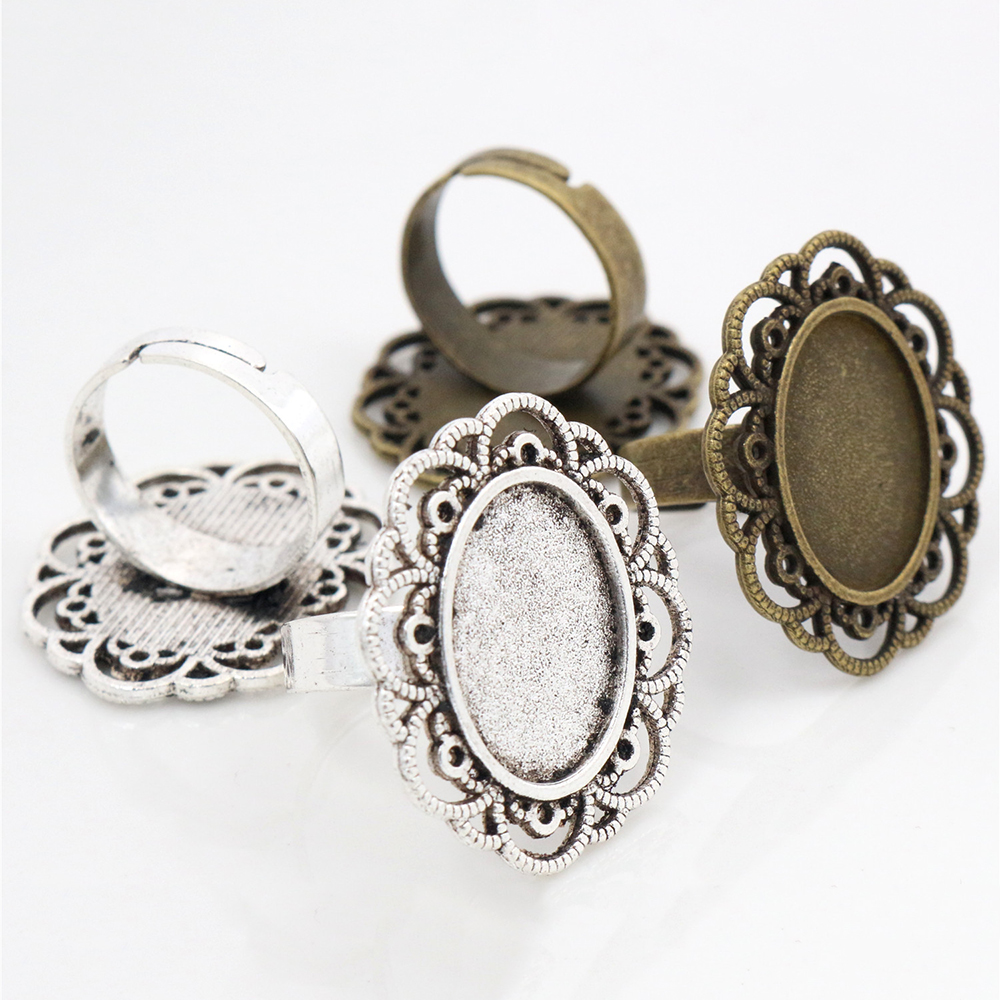13x18mm 5pcs Antique Silver Plated And Bronze Plated Brass Oval Adjustable Ring Settings Blank/Base,Fit 13x18mm Glass Cabochons