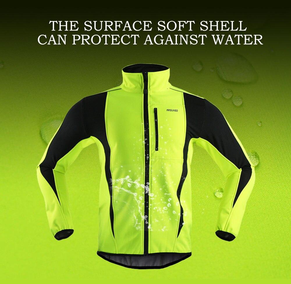 Купить с кэшбэком ARSUXEO Men Winter Cycling Jacket Windproof Waterproof Thermal Fleece Bike Jacket Warm Bicycle Clothing MTB Solfshell Coat 15K