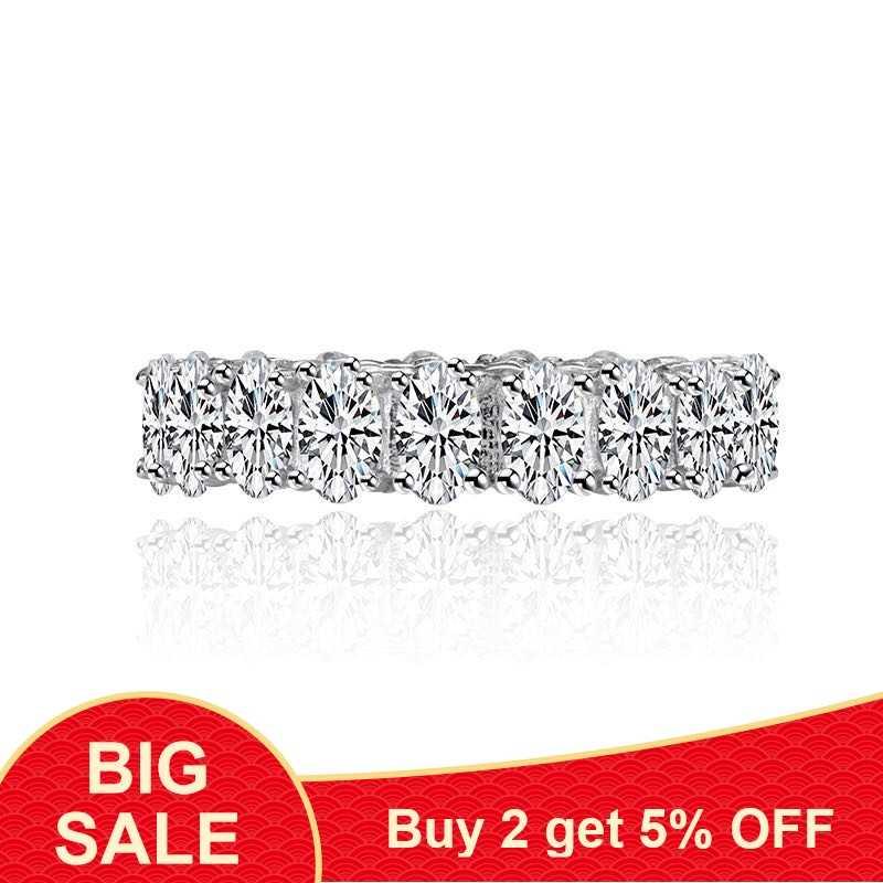 925 เงินสเตอร์ลิงที่สวยงาม Lady แหวนหัวใจ & รูปไข่ AAAAA Cubic Zirconia แหวนหมั้นแหวนเครื่องประดับเจ้าสาว