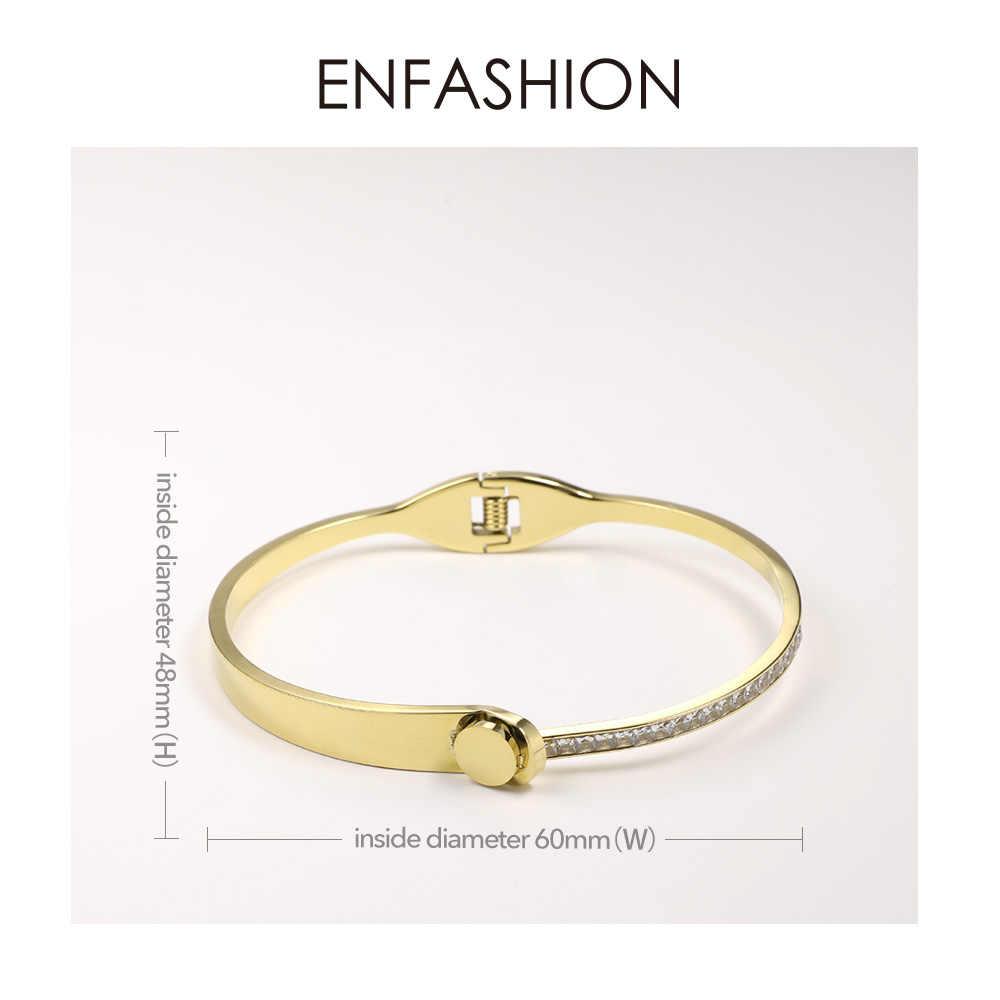 ENFASHION エレガントなクリスタルカフブレスレット腕輪ゴールドカラーのステンレス鋼の女性の女性のファッションジュエリー 2019 B192037