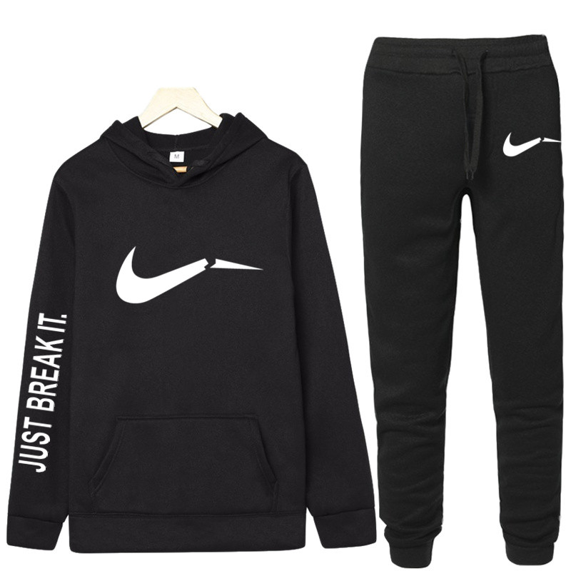 2019 New Trend Fashion Jogging Hooded Shirt Sportswear Sports Suit Sweatshirt + Sweatpants Men's Brand Hoodie Gym Fitness Suit
