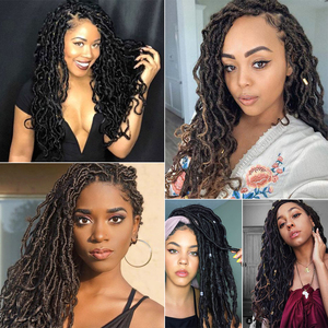 """Goddess Hair Faux Locs 24""""inch Crochet Braids Soft Dreads Natural Braid Large Area Synthetic Lace Front Wig For Black Women"""