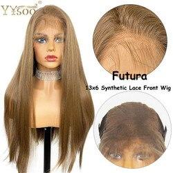 YYsoo длинные шелковистые прямые волосы, блонд, парик из искусственных волос Синтетические волосы на кружеве парики 13x6 для Для женщин Futura терм...