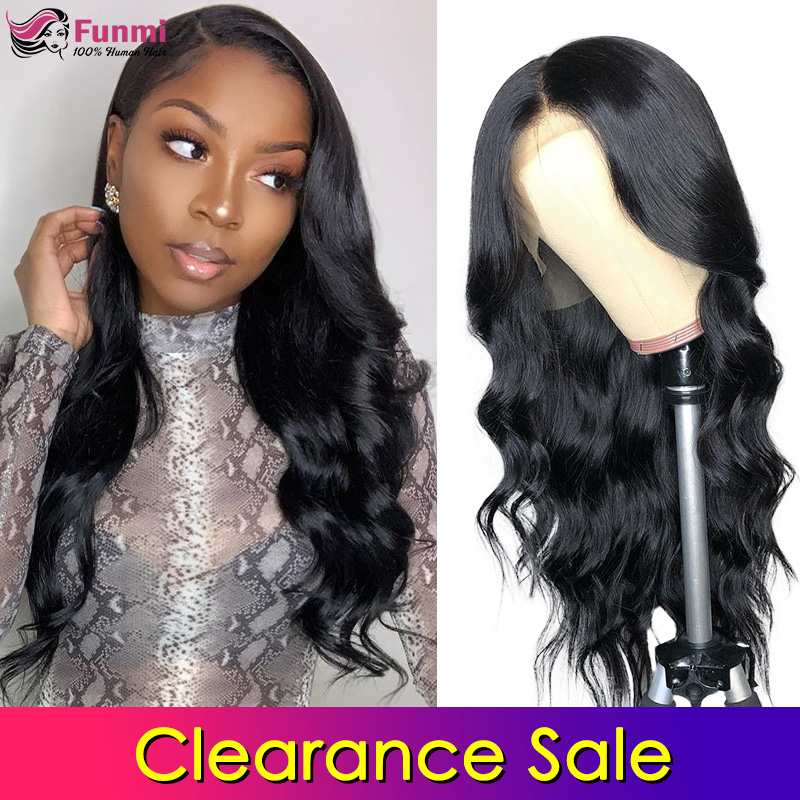 Clearance Sale 4x4 Lace Closure Wigs Human Hair Brazilian Body Wave Lace Wigs For Black Women Pre Plucked With Baby Hair Funmi