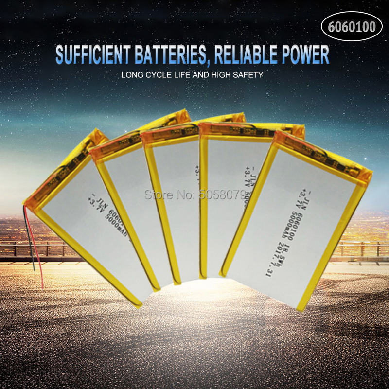 5pcs Li Po Li-ion Batteries Lithium Polymer Battery 3 7 V Lipo Li Ion Rechargeable Lithium-ion <font><b>6060100</b></font> 5000mAh Bateria Replace image