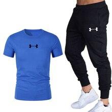 Брюки мужчины спортивные брюки+мужчины бег футболки мужские наборы беговая спортивная тренажерный зал фитнес-спортивный костюм тренировки