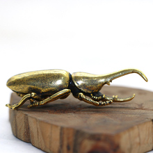 Vintage Copper Insect Tea Pet Japanese Rhinoceros Beetle Figuines Ornaments Brass Dynastes Hercules Home Decorations Accessories