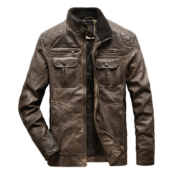 Mens Leather Jacket Winter Thicken Men's Warm Washed Motorcycle PU Leather Jacket Coat Men Vintage Jacket Outerwear Male Clothes