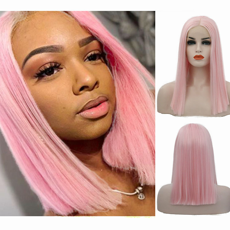 AIMEYA Pink Short Bob Hair Wigs Middle Part Women Synthetic Straight Bob Lace Front Wigs Heat Resistant Fiber Natural Hairline