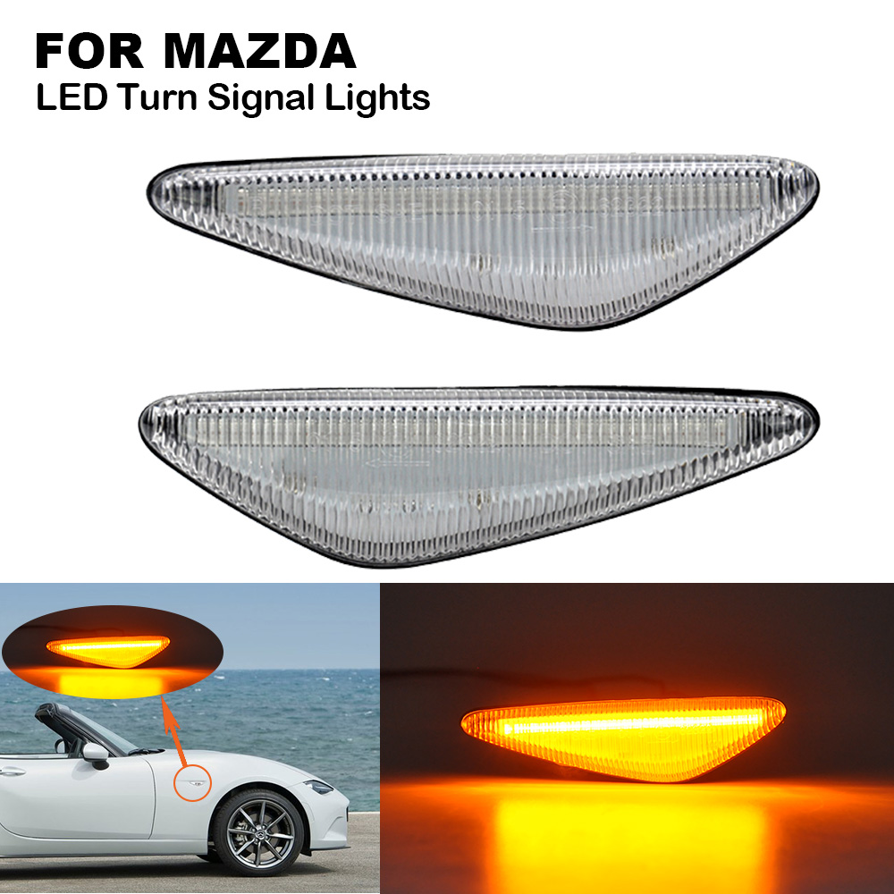 2X Clear LED Side Marker Indicator <font><b>Light</b></font> For <font><b>Mazda</b></font> Miata MX5 ND RX-8 <font><b>6</b></font> Atenza GH 2008-2012 5 Premacy CW 2010-2013 Fiat Spyder image