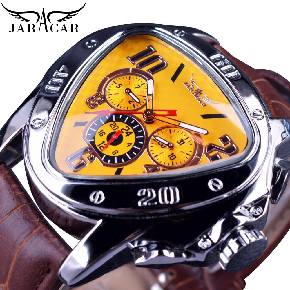 Jaragar Clock Top Brand Luxury Mechanical Automatic Male Watch Yellow Triangle 3 Dial Unusual Watch Men Fashion Sport Wristwatch