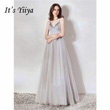 Its Yiiya Evening Dress 2019 Sleeveless Spaghetti Strap V-Neck Long A-Line Dresses Elegant Illusion Crystal Formal Gowns E1107