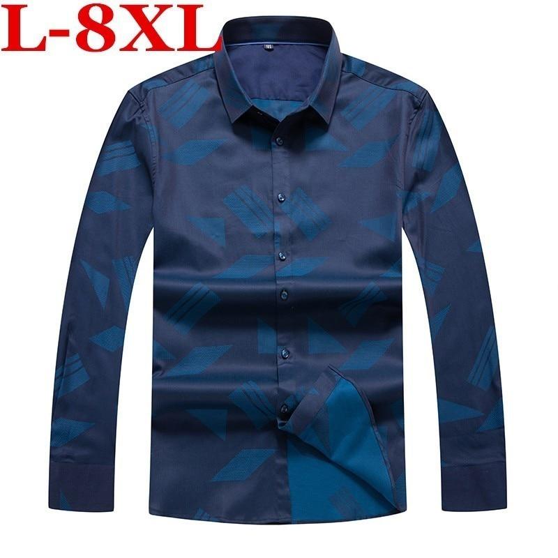 Plus Size 8XL 7XL  New Men Shirts Business Long Sleeve Turn-down Collar Cotton Male Shirt Slim Fit Popular Designs Large 5XL 4XL