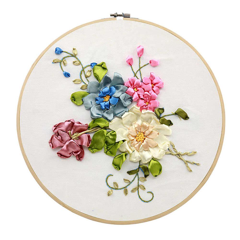 ثلاثية الأبعاد التطريز للمبتدئين عدة لتقوم بها بنفسك الأزهار لوازم التطريز بالأشرطة الحريرية اليدوى الإبرة للمبتدئين عدة عبر الابره مختومة مجموعات