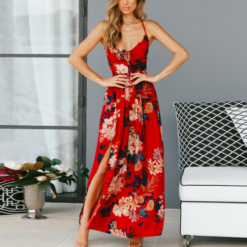 2019 Summer Women's <font><b>Dress</b></font> Bohemian <font><b>Style</b></font> Beach Resort Party <font><b>Sexy</b></font> Sling Split <font><b>Halter</b></font> Print Long Sleeve <font><b>Dress</b></font> Side Slit Maxi <font><b>Dress</b></font> image